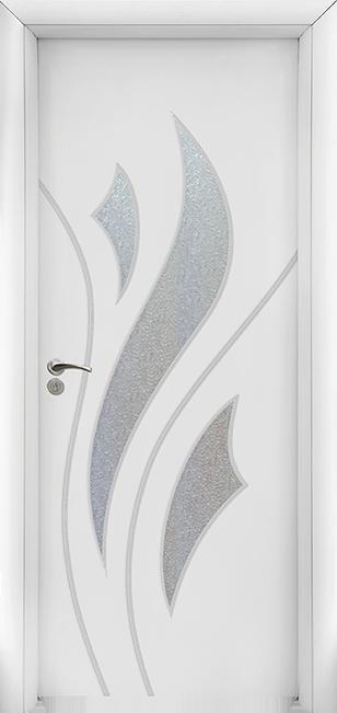Интериорна врата Модел 033W - бяла остъклена