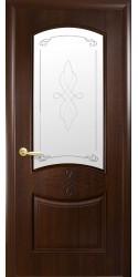 Интериорна врата Модел Дона Кестен - остъклена. Моделът включва: крило, каса, 2 комплекта раздвижни первази, 3бр. лагерни панти, брава, дръжки, уплътнения, остъклена горна табла с орнаментно кристално стъкло