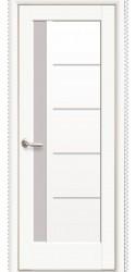 Интериорна врата Модел Грета бял мат. Моделът включва: крило, каса, 2 комплекта раздвижни первази, 3бр. лагерни панти, брава, дръжки, уплътнения, ефектно 3D-остъкляване