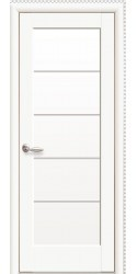 Интериорна врата Модел Мира бял мат. Моделът включва: крило, каса, 2 комплекта раздвижни первази, 3бр. лагерни панти, брава, дръжки, уплътнения, ефектно 3D-остъкляване